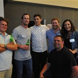 Old Collegians Patrick Hunt, Andrew Steed, Ben Webby, Thomas Scheres, Aliesha-Jane Moroney and Bradley Mitchell