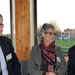 Michael  (headmaster 1980 - 1991) and Susan Lawrence chat with Evan McCulloch